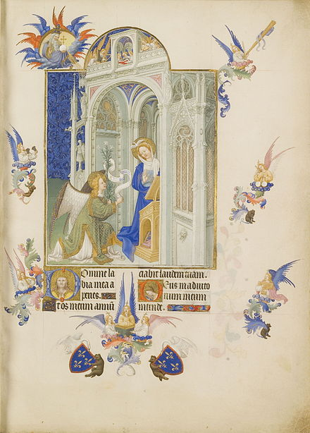 Hail Mary (Annunciation), Les Tres Riches Heures du duc de Berry, Chantilly Museum Folio 26r - The Annunciation.jpg