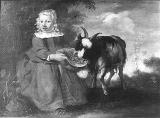 Portret van een jongen met een geit