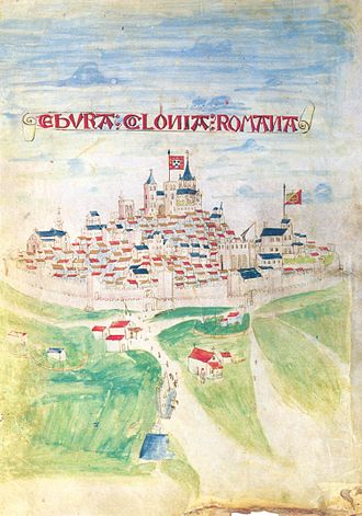 Évora - A depiction of Évora in 1503, when the city was blooming with Manueline riches.