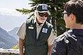 Forest Service Volunteer Ranger speaking with Visitor at Artist's Ridge, Mt Baker Snoqualmie National Forest (32107652385).jpg