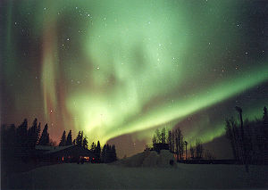 The aurora borealis, or northern lights, decor...
