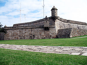 Fort of Leça de Palmeira - The manicured grounds of the fort, showing the battlements and barbicans