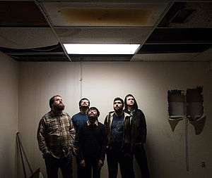 Foxing (band) - Left to right: Hellwig, Murphy, Sampson, Coll, Hudson