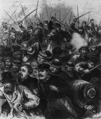 Chicago railroad strike of 1877 - Violence in Chicago as depicted on the August 11, 1877 cover of Frank Leslie's Illustrated Newspaper