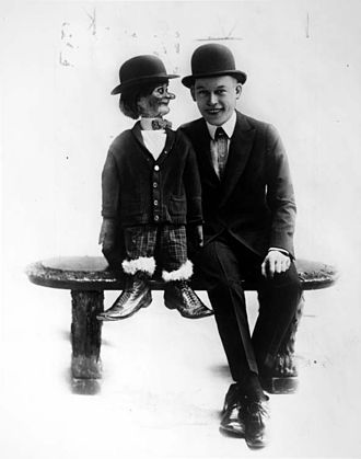Fred Allen - Fred Allen (right) with dummy, circa 1916.