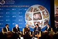 From left, USAID Administrator Rajiv Shah; U.S. Secretary of Defense Robert Gates; Secretary of State Hillary Rodham Clinton; moderator Frank Sesno, director of the School of Media and Public Affairs at George 100928-D-JB366-102.jpg