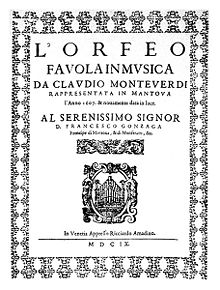 "a decorated sheet headed ""L'Orfeo: favola in musica da Claudio Monteverdi"". The dedication is to ""Serenissimo Dignor D. Francesco Gonzaga"" and the date shown is MDIX (1609)"