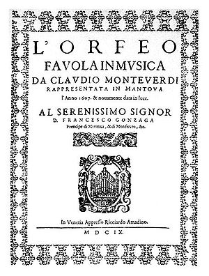 L'Orfeo - Front cover of the score of L'Orfeo, published in Venice in 1609