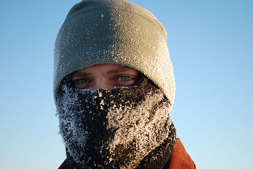Frost on soldier's balaclava at Fort Greely, Alaska, Jan 12 2011