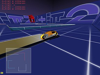 Artificial intelligence in video games - Light cycle characters compete to be the last one riding, in GLtron.