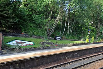 Hindley railway station - The garden on platform 1