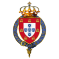Garter-encircled shield of arms of Manuel II, King of Portugal.png