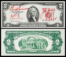 A 1953 $2-bill carried on Gemini 3 and signed by Gus Grissom and John Young