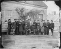 Gen. Alfred H. Terry and staff of fifteen. Recognized- Dr. A. J. Buzzel, Lieut. W. S. Hurlburt, Capt. Wm. V.... - NARA - 524462.tif