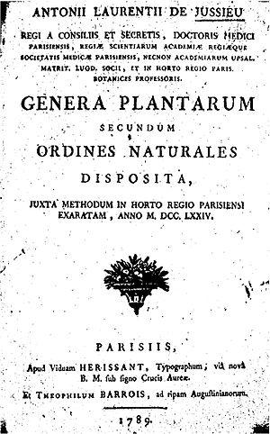 Antoine Laurent de Jussieu - Image: Genera plantarum jussieu