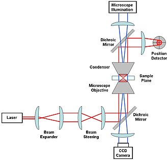 Optical tweezers - A generic optical tweezer diagram with only the most basic components.