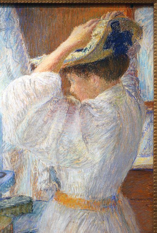 File:George morren, donna che si mette il suo cappello ...