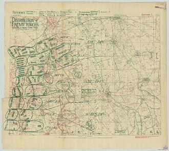 Battle of the Menin Road Ridge - Image: German troop disposition opposite 1 ANZAC Corps on 1 Sept 1917