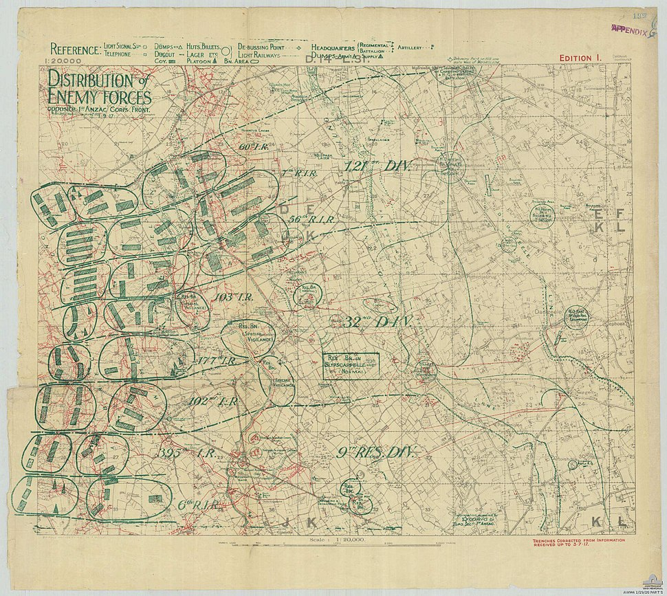 German troop disposition opposite 1 ANZAC Corps on 1 Sept 1917