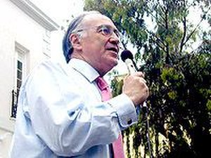 Gibraltar Conservatives - Michael Howard, former Conservative leader, addressing voters outside the Gibraltar House of Assembly (now the Gibraltar Parliament) for the 2004 European Election.