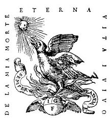 "A phoenix sits in a nest of flames atop a globe bearing the initials I.G.F., bordered on three sides by the Latin motto, ""De la mia morte eterna vita i vivo."""