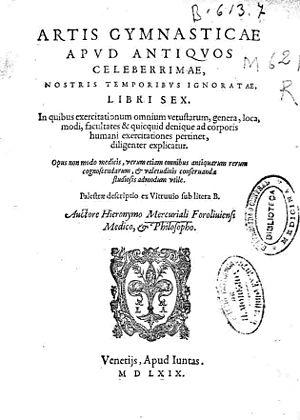 Girolamo Mercuriale - Title page of Artis gymnasticae apud antiquos celeberrimae, nostris temporis ignoratae, libri sex