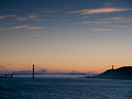 Golden Gate Bridge at dusk, seen from Alcatraz island, San Francisco, California.jpg