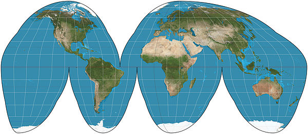 Goode homolosine projection of the world. Goode homolosine projection SW.jpg