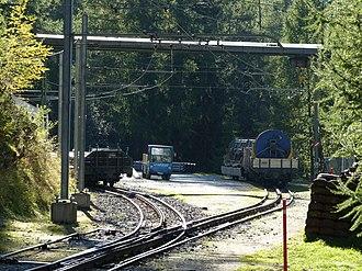 Findelbach railway station - Image: Gornergratbahn Station Findelbach Ladegleise