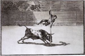Bull-leaping - The Speed and Daring of Juanito Apiñani in the Ring of Madrid (1815-16). Etching and aquatint by Francisco de Goya.