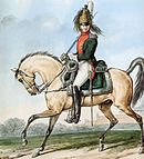 Color print of the colonel commanding the 1st Dragoon Regiment. He wears a green coat and a brass helmet with a horsehair crest and his mounted on a light brown horse.