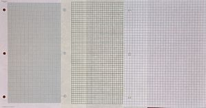 "Graph paper - Three styles of loose leaf graph paper: 10 squares per centimeter (""millimeter paper""), 5 squares per inch (""Engineering paper""), 4 squares per inch (""Quad paper"")"