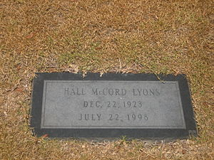 Hall Lyons - The gravestone of Louisiana oilman and politician Hall McCord Lyons at Shreveport's Forest Park East Cemetery