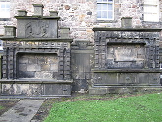 James Stirling (mathematician) - Stirling's grave in Greyfriars Kirkyard, Edinburgh, general view. It is the small plate between the two large tablets.