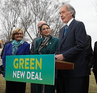 Green New Deal - Ed Markey speaks on a Green New Deal in front of the Capitol Building in February 2019