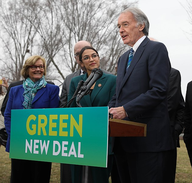 Senator Markey at presser for Green new Deal