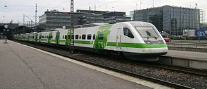 VR Class Sm3 - An Sm3 at Helsinki Central railway station in VR's new green/white livery.