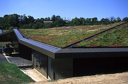 Green roof planted with native species at L'Historial de la Vendée, a new museum in western France. - Architecture
