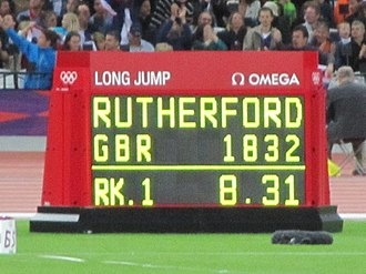 Athletics at the 2012 Summer Olympics – Men's long jump - Image: Greg Rutherford's distance after his gold medal winning jump (crop)