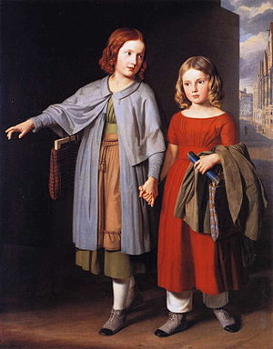 Trust (emotion) - Trust: The Artist's Daughters on the Way to School, 1851 Gustav Adolph Hennig painting.