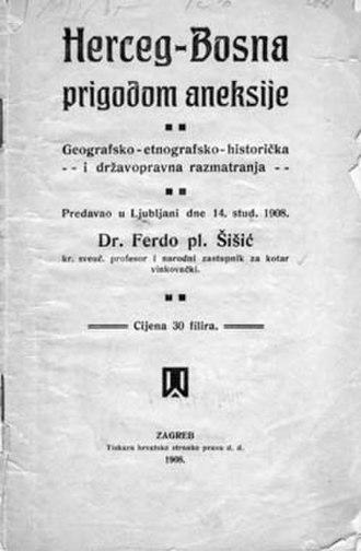 Croatian Republic of Herzeg-Bosnia - Ferdo Šišić's book from 1908 with Herceg-Bosna in the title
