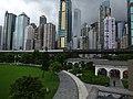 HK 香港 Dr Sun Yat-Sen Memorial Park 中山紀念公園 green grass n facades Sai Ying Pun June 2016 GD Finance Bldg.jpg