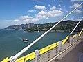 HK CityBus 960 view 汀九橋 Ting Kau Bridge 斜拉橋 Cable-stayed Kwai Tsing District Tsuen Wan Tsing Long Highway August 2018 IX1 藍巴勒海峽 Rambler Channel 01.jpg