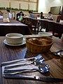 HK Kwun Tong 成業街 7 Shing Yip Street 東廣場 Eplaza 花園餐廳 Sweetheard Garden Restaurant tablepoon fork basket bread n white cream soup May 2017 Lnv2.jpg