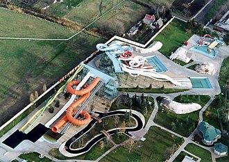Hajdúszoboszló - Aerial photo of the strand (aquapark)