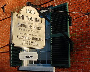 Hamilton Hall (Salem, Massachusetts) - Image: Hamilton Hall Sign