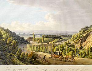 James Ogilvy, 7th Earl of Findlater - Findlater's vineyard near Dresden, outline etching by Christian Gottlob Hammer, 1805