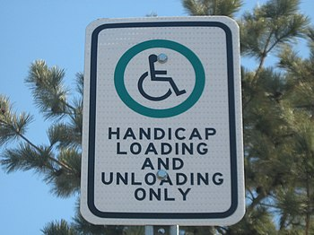 English: Handicap sign , Dryden, Ontario, Canada