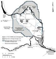 A map shows the main areas of the Hanford site, as well as the buffer zone that was turned over to the Hanford Reach National Monument in 2000. (See also this virtual tour of the site.)
