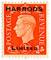 Harrods Limited commercial overprint on British 2d dark colours definitive stamp of 1938.jpg